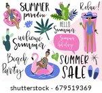 summer labels  logos  hand... | Shutterstock .eps vector #679519369