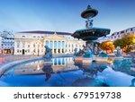 rossio square in lisbon portugal | Shutterstock . vector #679519738