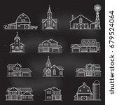 set of thin line icon suburban... | Shutterstock .eps vector #679524064