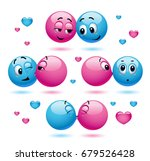 smiley kissing another smiley.... | Shutterstock .eps vector #679526428