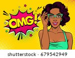wow female face. sexy surprised ... | Shutterstock .eps vector #679542949