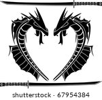 Sea Dragons. Stencil. Vector...