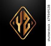 golden monogram logo curved... | Shutterstock .eps vector #679549138