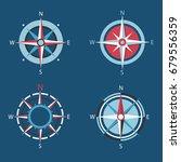 wind rose  vector compass flat... | Shutterstock .eps vector #679556359