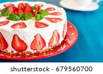 strawberry cake with sour cream ... | Shutterstock . vector #679560700