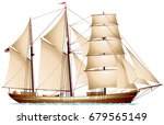 Barquentine, three-masted American merchant cargo vessel, sailing ship realistic vector illustration series