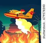 wildfire firefighter plane or... | Shutterstock .eps vector #679578340