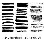 set of black paint  ink brush... | Shutterstock .eps vector #679580704