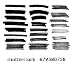 set of black paint  ink brush... | Shutterstock .eps vector #679580728