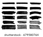 set of black paint  ink brush... | Shutterstock .eps vector #679580764