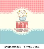 bakery shop banner with cupcakes | Shutterstock . vector #679583458