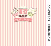 bakery shop banner with cupcakes | Shutterstock . vector #679583470