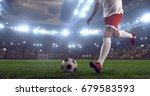 soccer player makes a dramatic... | Shutterstock . vector #679583593