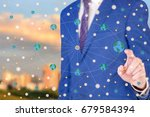man shows the scheme of the... | Shutterstock . vector #679584394