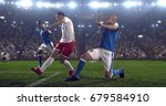soccer player makes a dramatic...   Shutterstock . vector #679584910