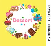 frame of sweets. set of candy... | Shutterstock .eps vector #679586194