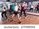 happy adult men and ladies... | Shutterstock . vector #679589044