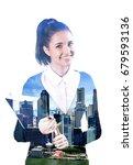 double exposure of business... | Shutterstock . vector #679593136