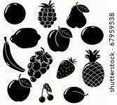 Fruits Silhouettes Set. 13...
