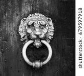 Small photo of Metal door rails on wooden door, head to lion shroud