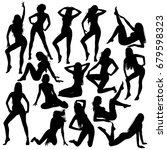 many black vector silhouettes...   Shutterstock .eps vector #679598323