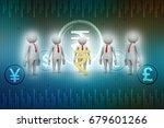 3d people around indian rupee... | Shutterstock . vector #679601266