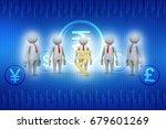 3d people around indian rupee... | Shutterstock . vector #679601269