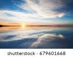 mirror surface on the salt flat ... | Shutterstock . vector #679601668