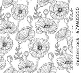 seamless pattern with poppy... | Shutterstock .eps vector #679602250