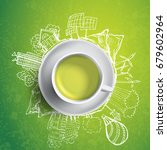 green tea with circle ecology... | Shutterstock . vector #679602964