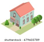 house and trees in the...   Shutterstock .eps vector #679603789