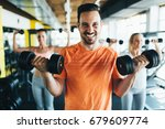 group of friends exercising... | Shutterstock . vector #679609774