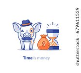 wise old pig with mustache and... | Shutterstock .eps vector #679611529