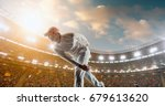 cricket bowler in action on a... | Shutterstock . vector #679613620