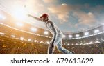 cricket bowler in action on a... | Shutterstock . vector #679613629