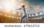 cricket bowler in action on a... | Shutterstock . vector #679613713