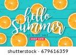 summer sale background layout...   Shutterstock .eps vector #679616359