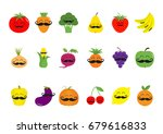 fruit berry vegetable mustache... | Shutterstock .eps vector #679616833