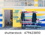 surfboard rentals waiting for... | Shutterstock . vector #679623850