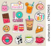 set of fashion patches  cute... | Shutterstock .eps vector #679629043