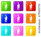buddhist monk icons of 9 color... | Shutterstock .eps vector #679633753