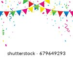 colorful party flags with... | Shutterstock .eps vector #679649293