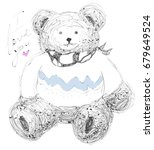 cute bear with i love you... | Shutterstock .eps vector #679649524