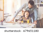 happy delighted father and son... | Shutterstock . vector #679651180