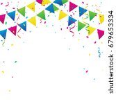 colorful party flags with... | Shutterstock .eps vector #679653334