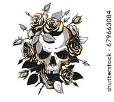 Skull With Roses Illustration