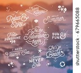 summer lettering set   vintage... | Shutterstock .eps vector #679665088