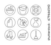 clean  wash line icons. washing ... | Shutterstock .eps vector #679666540