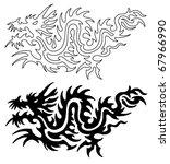 asian tattoo dragon | Shutterstock . vector #67966990
