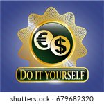 gold badge with currency... | Shutterstock .eps vector #679682320